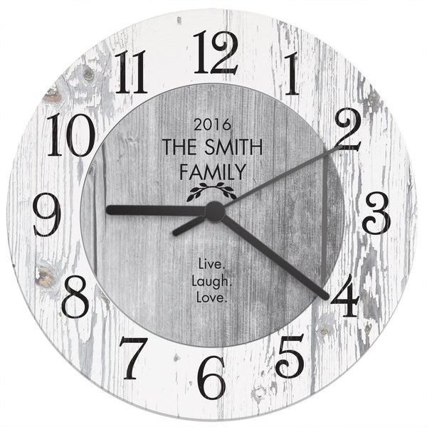 Personalised Any Message Shabby Chic Large Wooden Clock white background