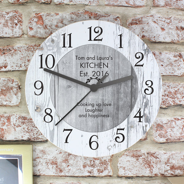 Personalised Any Message Shabby Chic Large Wooden Clock from Sassy Bloom Gifts - alternative view