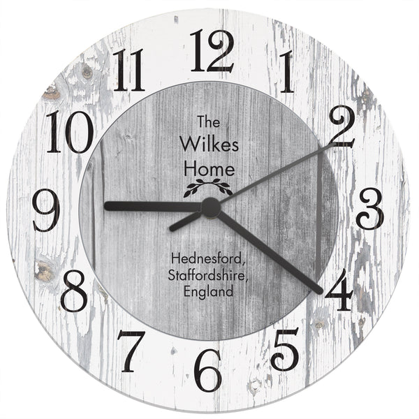 Personalised Any Message Shabby Chic Large Wooden Clock with personalised name