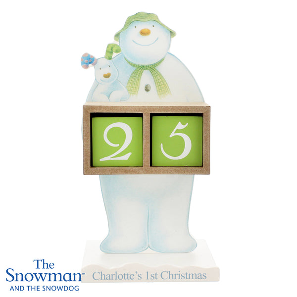 Personalised The Snowman and the Snowdog Perpetual Advent Calendar white background