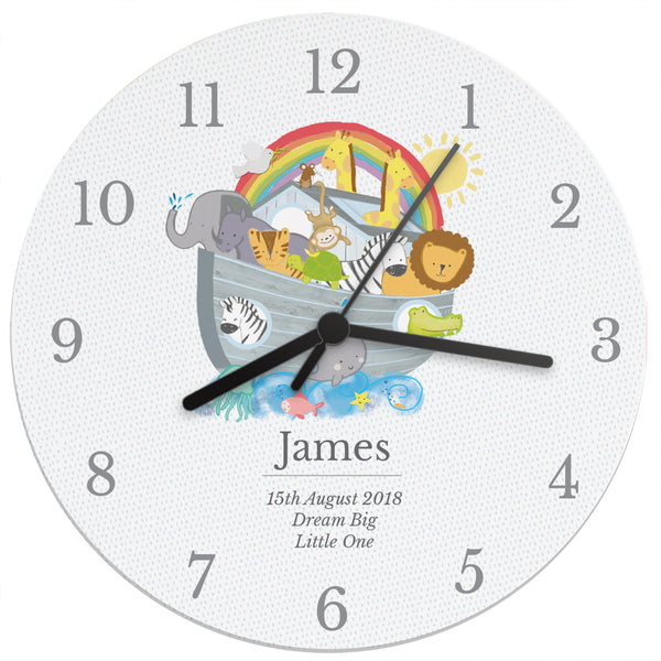 Personalised Noah's Ark Clock white background