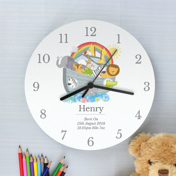 Personalised Noah's Ark Clock with personalised name