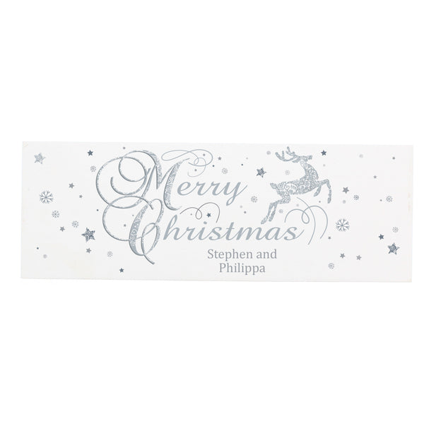 Personalised Silver Reindeer Wooden Block Sign white background