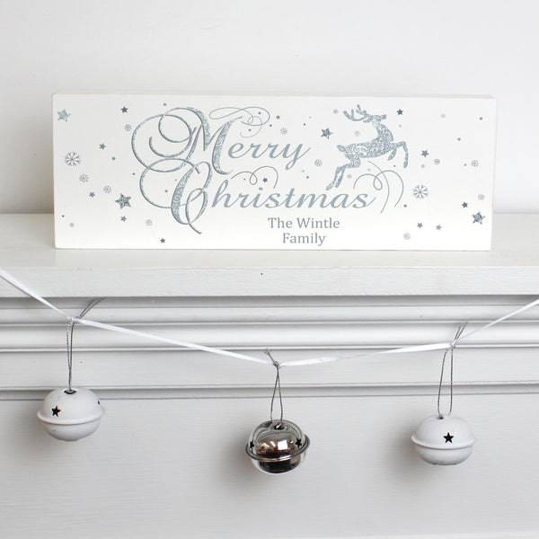Personalised Silver Reindeer Wooden Block Sign from Sassy Bloom Gifts - alternative view