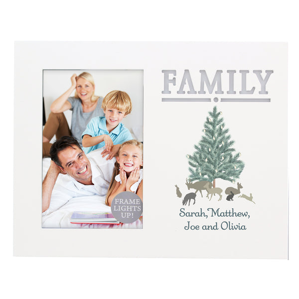 Personalised A Winters Night Family 6x4 Light Up Frame white background