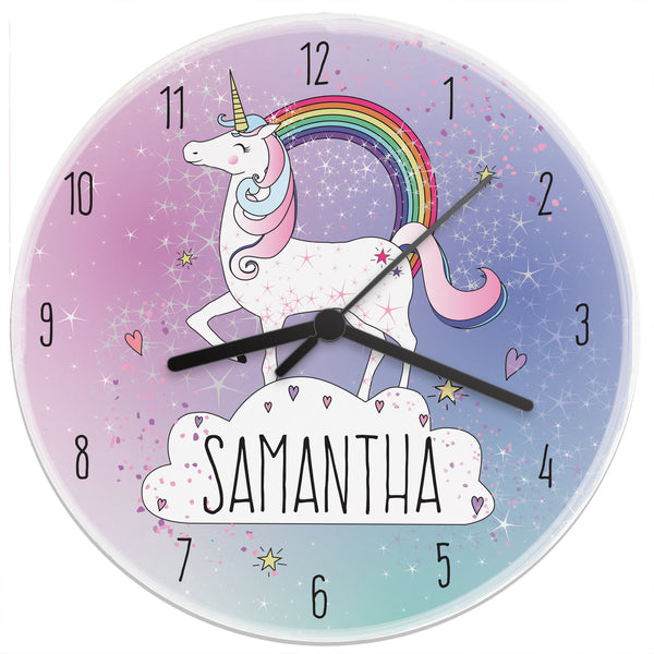 Personalised Unicorn Wooden Clock white background