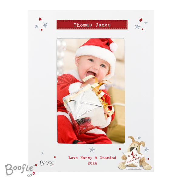 Personalised Boofle My 1st Christmas 6x4 Photo Frame white background