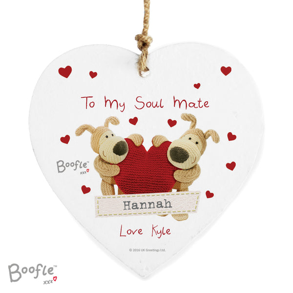 Personalised Boofle Shared Heart Wooden Heart Decoration white background