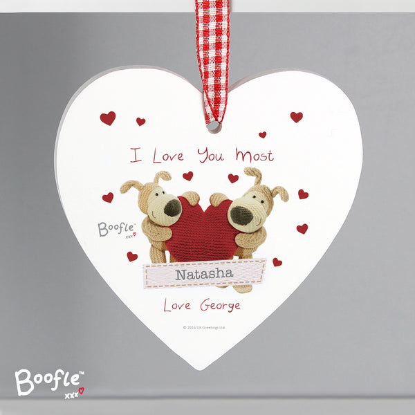 Personalised Boofle Shared Heart Wooden Heart Decoration from Sassy Bloom Gifts - alternative view