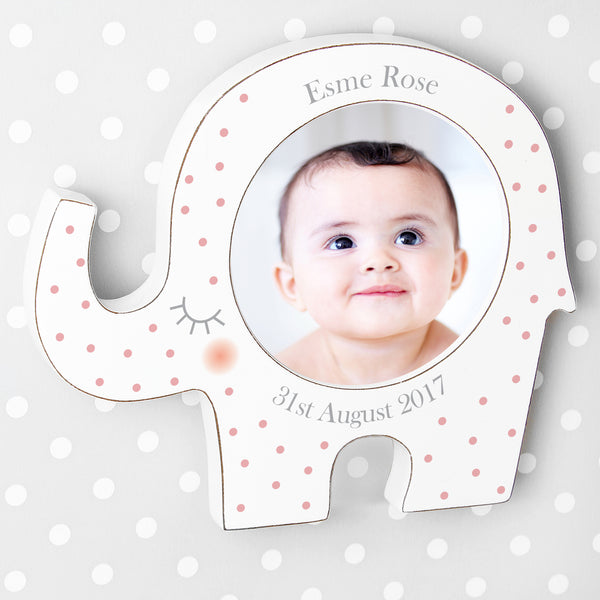 Personalised Pink Spotty Elephant Baby Photo Frame with personalised name