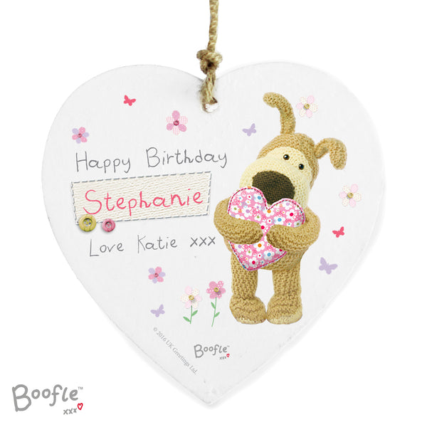 Personalised Boofle Flowers Wooden Heart Decoration white background