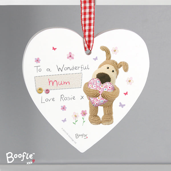 Personalised Boofle Flowers Wooden Heart Decoration from Sassy Bloom Gifts - alternative view