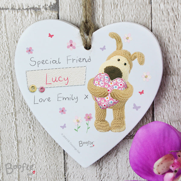 Personalised Boofle Flowers Wooden Heart Decoration lifestyle image