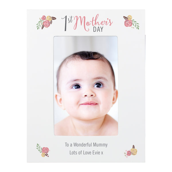 Personalised Floral Bouquet 1st Mothers Day 6x4 Photo Frame white background