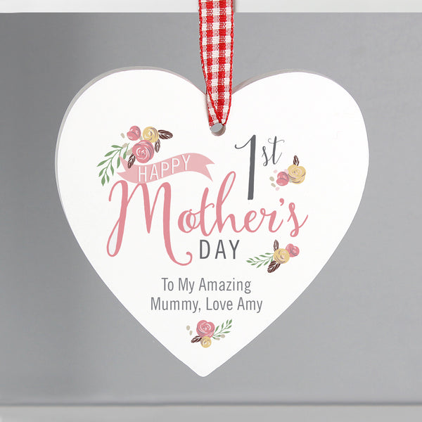 Personalised Floral Bouquet 1st Mothers Day Wooden Heart Decoration from Sassy Bloom Gifts - alternative view