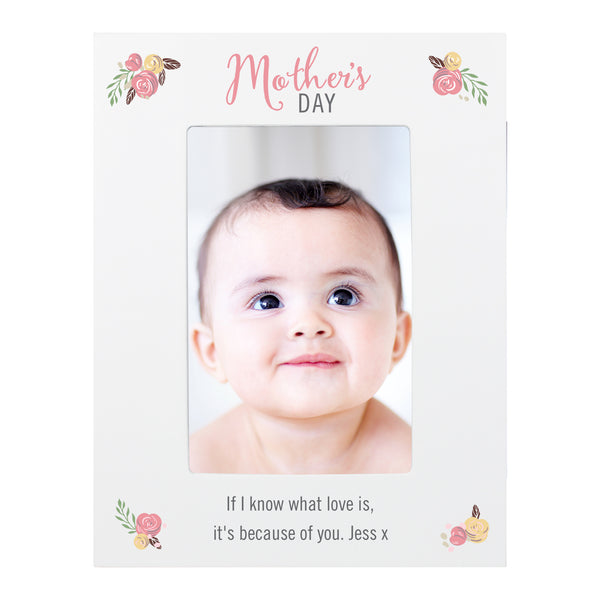 Personalised Floral Bouquet Mothers Day 6x4 Photo Frame white background
