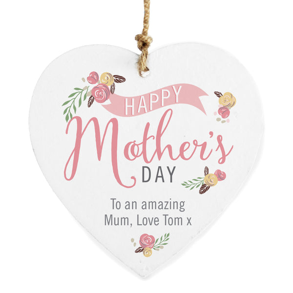 Personalised Floral Bouquet Mother's Day Wooden Heart Decoration white background