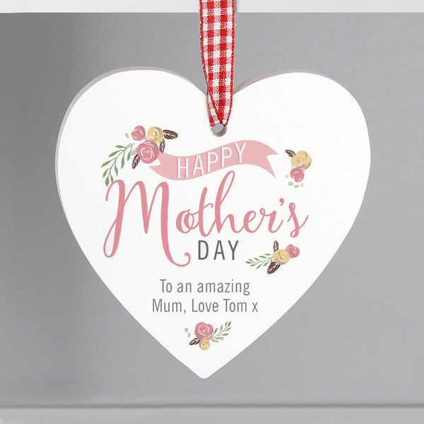 Personalised Floral Bouquet Mother's Day Wooden Heart Decoration from Sassy Bloom Gifts - alternative view