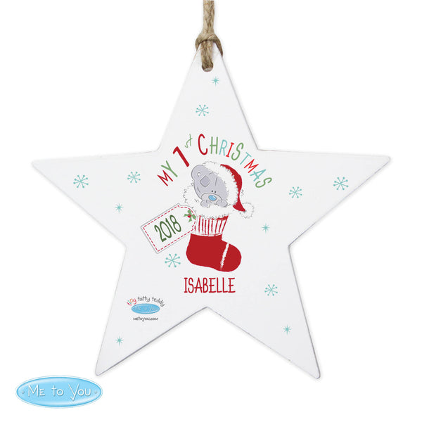 Personalised Tiny Tatty Teddy My 1st Christmas Stocking Wooden Star Decoration white background