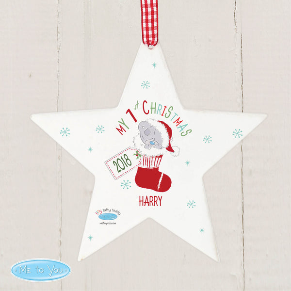 Personalised Tiny Tatty Teddy My 1st Christmas Stocking Wooden Star Decoration from Sassy Bloom Gifts - alternative view