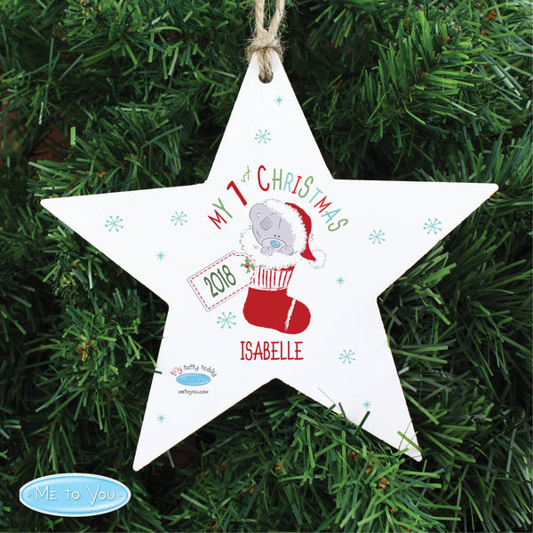 Personalised Tiny Tatty Teddy My 1st Christmas Stocking Wooden Star Decoration lifestyle image