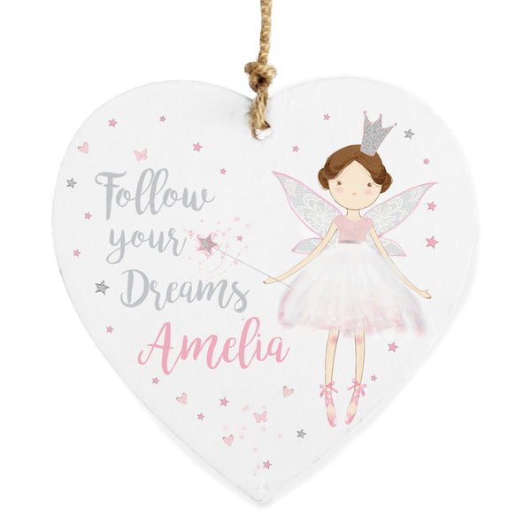 Personalised Fairy Princess Wooden Heart Decoration white background