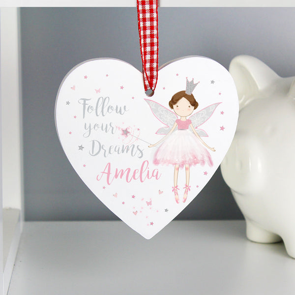 Personalised Fairy Princess Wooden Heart Decoration from Sassy Bloom Gifts - alternative view