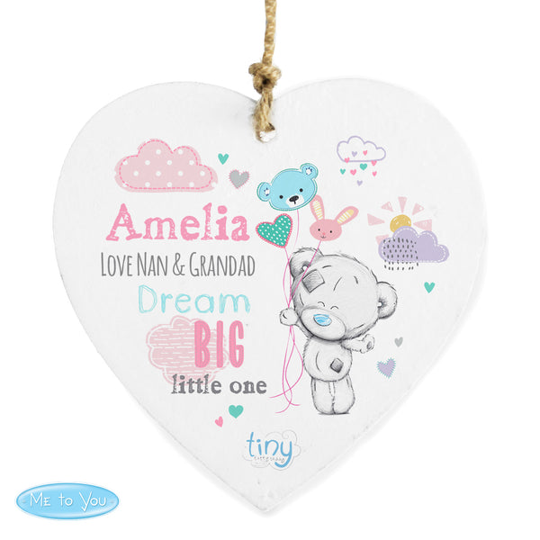 Personalised Tiny Tatty Teddy Dream Big Pink Wooden Heart Decoration white background