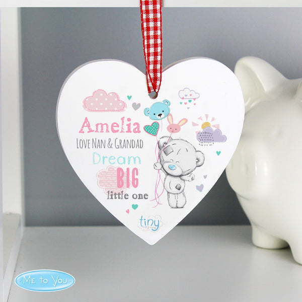 Personalised Tiny Tatty Teddy Dream Big Pink Wooden Heart Decoration from Sassy Bloom Gifts - alternative view