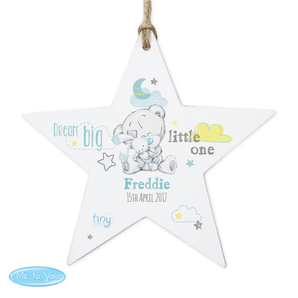 Personalised Tiny Tatty Teddy Dream Big Blue Wooden Star Decoration white background