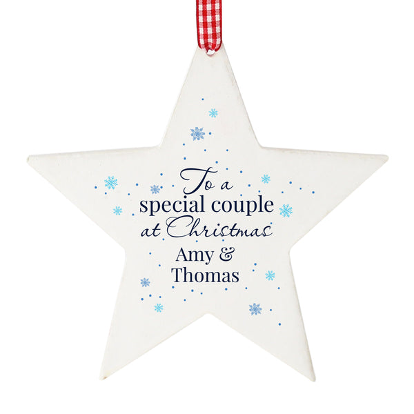 Personalised 'Special Couple' Wooden Star Decoration white background