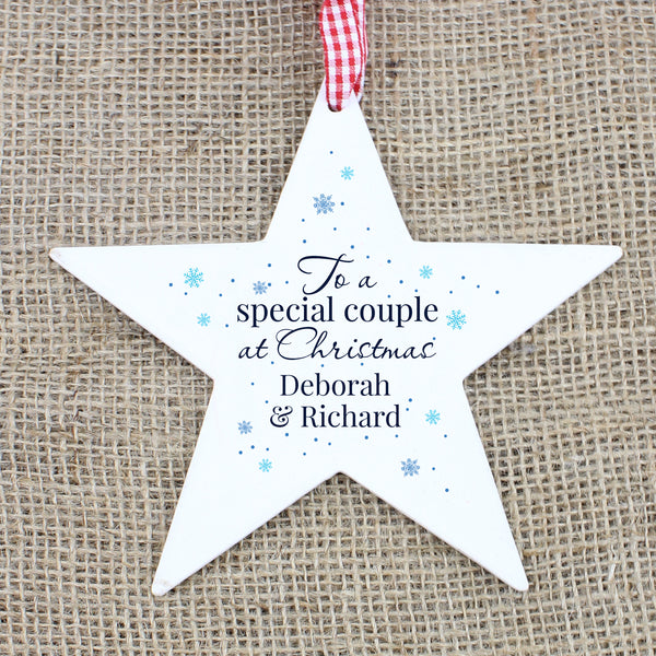 Personalised 'Special Couple' Wooden Star Decoration from Sassy Bloom Gifts - alternative view