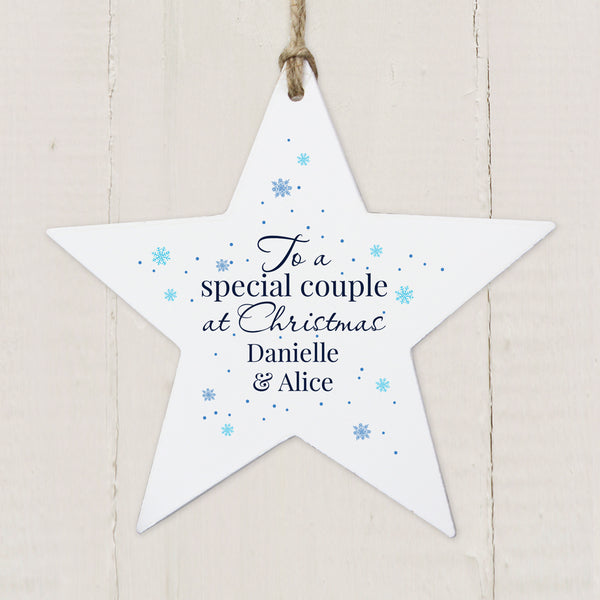 Personalised 'Special Couple' Wooden Star Decoration lifestyle image