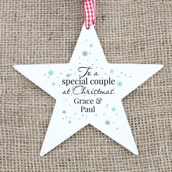Personalised 'Special Couple' Wooden Star Decoration with personalised name