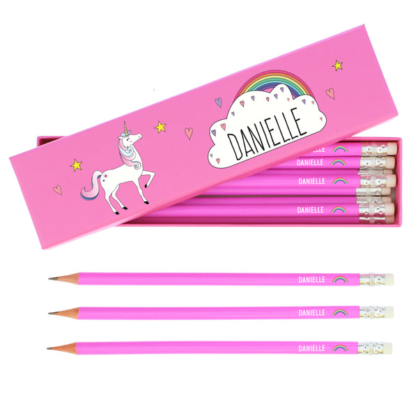 Personalised Unicorn Box of 12 Pink HB Pencils white background