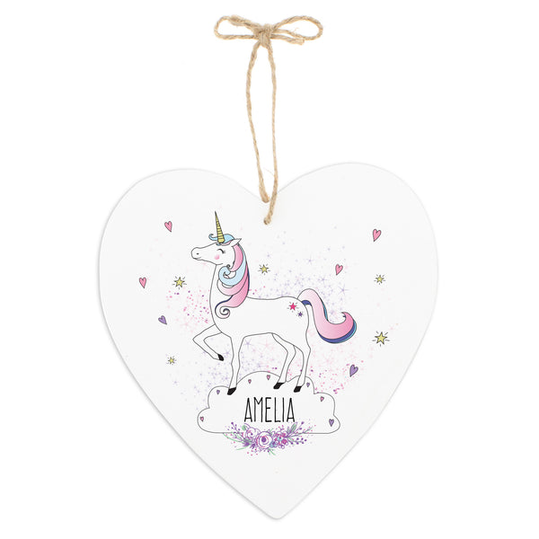 Personalised Unicorn 22cm Large Wooden Heart Decoration white background