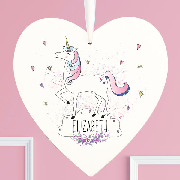 Personalised Unicorn 22cm Large Wooden Heart Decoration lifestyle image