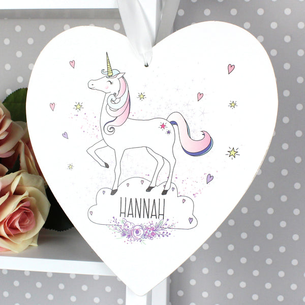 Personalised Unicorn 22cm Large Wooden Heart Decoration with personalised name