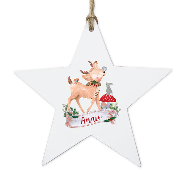 Personalised Festive Fawn Wooden Star Decoration white background