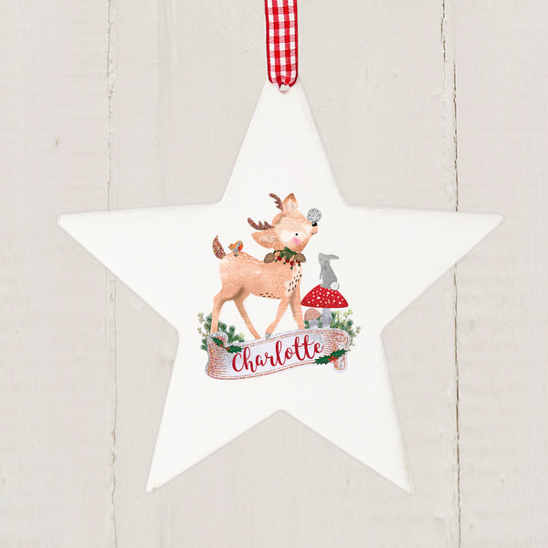 Personalised Festive Fawn Wooden Star Decoration with personalised name