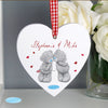 Personalised Me to You Couples Wooden Heart Decoration