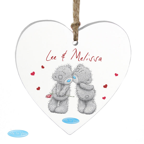 Personalised Me to You Couples Wooden Heart Decoration white background