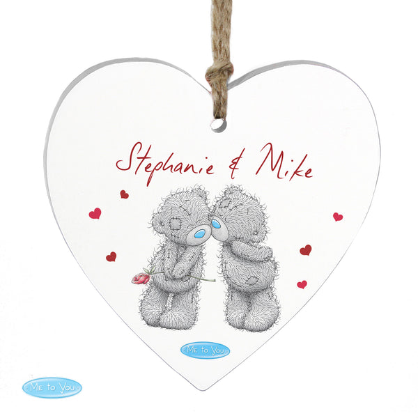 Personalised Me to You Couples Wooden Heart Decoration lifestyle image