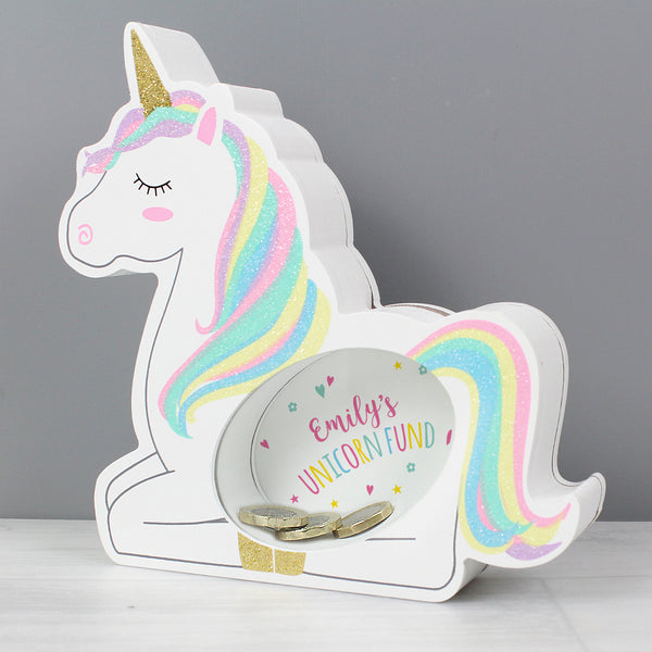Personalised Unicorn Wooden Money Box