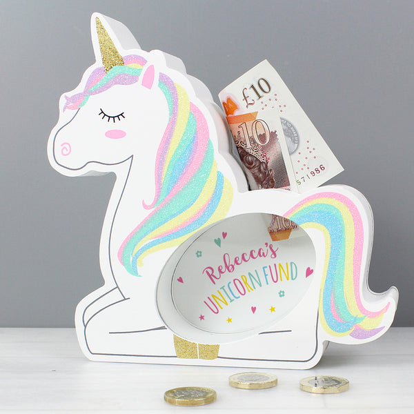 Personalised Unicorn Wooden Money Box from Sassy Bloom Gifts - alternative view