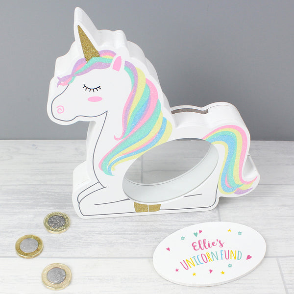 Personalised Unicorn Wooden Money Box lifestyle image