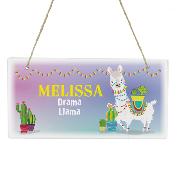 Personalised Llama Wooden Sign white background