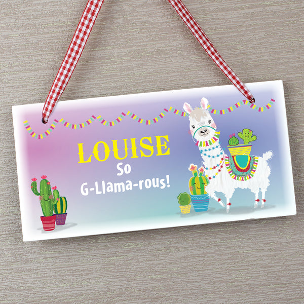 Personalised Llama Wooden Sign from Sassy Bloom Gifts - alternative view