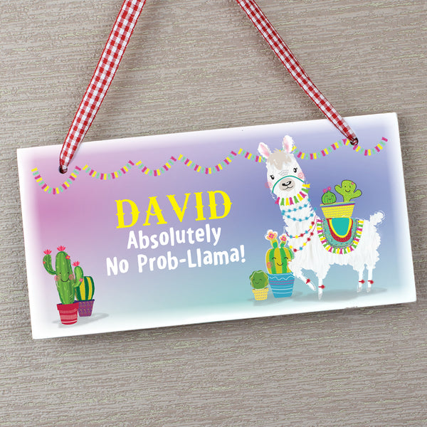 Personalised Llama Wooden Sign with personalised name