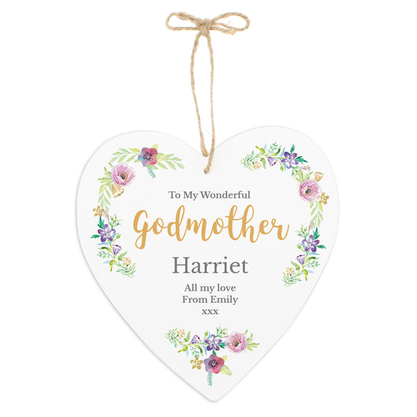 Personalised Any Role 'Floral Watercolour' 22cm Large Wooden Heart Decoration white background